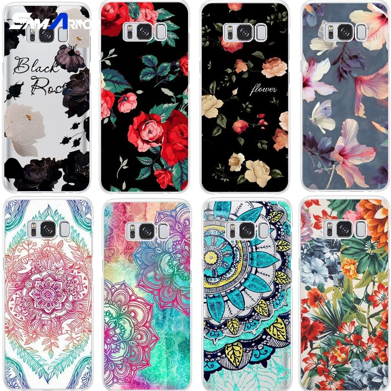 Black white red flower TPU Case For Samsung Galaxy Note 8 S5 S6 S7 Edge S8 S9 Pl - $13.95