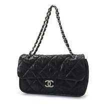 Chanel Matrasse Chain Shoulder Bag Black Satin Silver Fittings Used - ₨180,395.38 INR