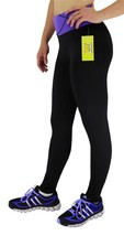 NEW W SPORT WOMEN'S ATHLETIC GYM WORKOUT LONG LEGGING PANTS BLACK/PURPLE 4813 image 2