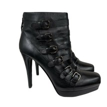 Stuart Weitzman 'Iron Lady ' High Heel Buckled Black Leather Ankle Boots... - $183.15