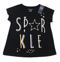 First Impressions New Infant Girls Sparkle Print Black T Shirt Tee 18 M - $8.90