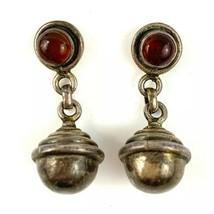 Garnet Sterling Silver 925 Vintage Round Hanging Globe Style Dangling Ea... - $38.77