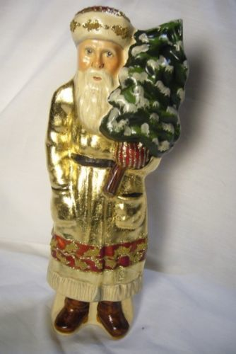 Vaillancourt Santa in Gold with Tree Signed by Judi Vaillancourt