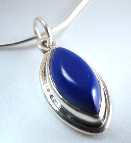Primary image for Lapis Marquise 925 Sterling Silver Necklace India New