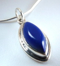 Lapis Marquise 925 Sterling Silver Necklace India New - $21.44