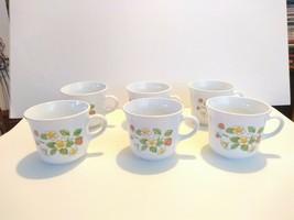 "Set of 6 Corelle ""Strawberry Sundae"" Coffee  Cups Corning Vintage Pattern - $9.50"