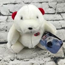 Vintage 1996 Coca-Cola Polar Bear Plush White Sitting Wearing Red Earmuffs - $7.91