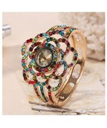 Round Flower Rhinestone Women Watches Colorful Hollow Bangle Crystal Wri... - $9.99