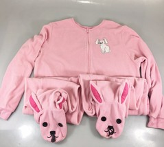 Nick & Nora Womens S Bunny Rabbit Pale Pink One Piece Fleece Footed Pajamas - $43.61