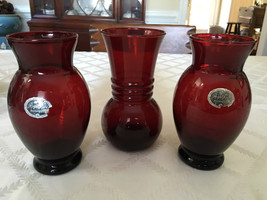 """Lot of 3  Royal Ruby Anchorglass by anchor hocking Vase 6.5"""" - $55.00"""