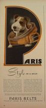 1945 WIRE FOX TERRIER PARIS BELTS PHOTO PRINT AD - $9.99