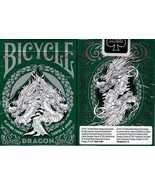 1 Deck Bicycle Dragon Green & White Standard Poker Playing Cards Brand N... - $7.99