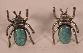Vintage Navajo Indian Sterling Silver Bug Turquoise 3D Lightning Bug Ear... - $123.75