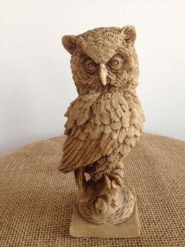 "Primary image for Great Horned Wise Owl Standing on Tree Stump Resin 9"" Figurine Statuette"