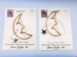 2 GLORIA DUCHIN 24 KARAT GOLDTONE FINISH COLLECTIBLE CHRISTMAS ORNAMENTS... - $9.85