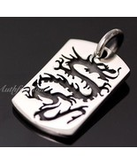 Men Sterling Silver Solid Dog Tag Pendant Asian Dragon Pattern Rider Hip... - $48.11
