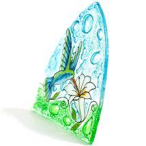 Fused Art Glass Hummingbird & Flower Nightlight Night Light Handmade Ecuador image 3