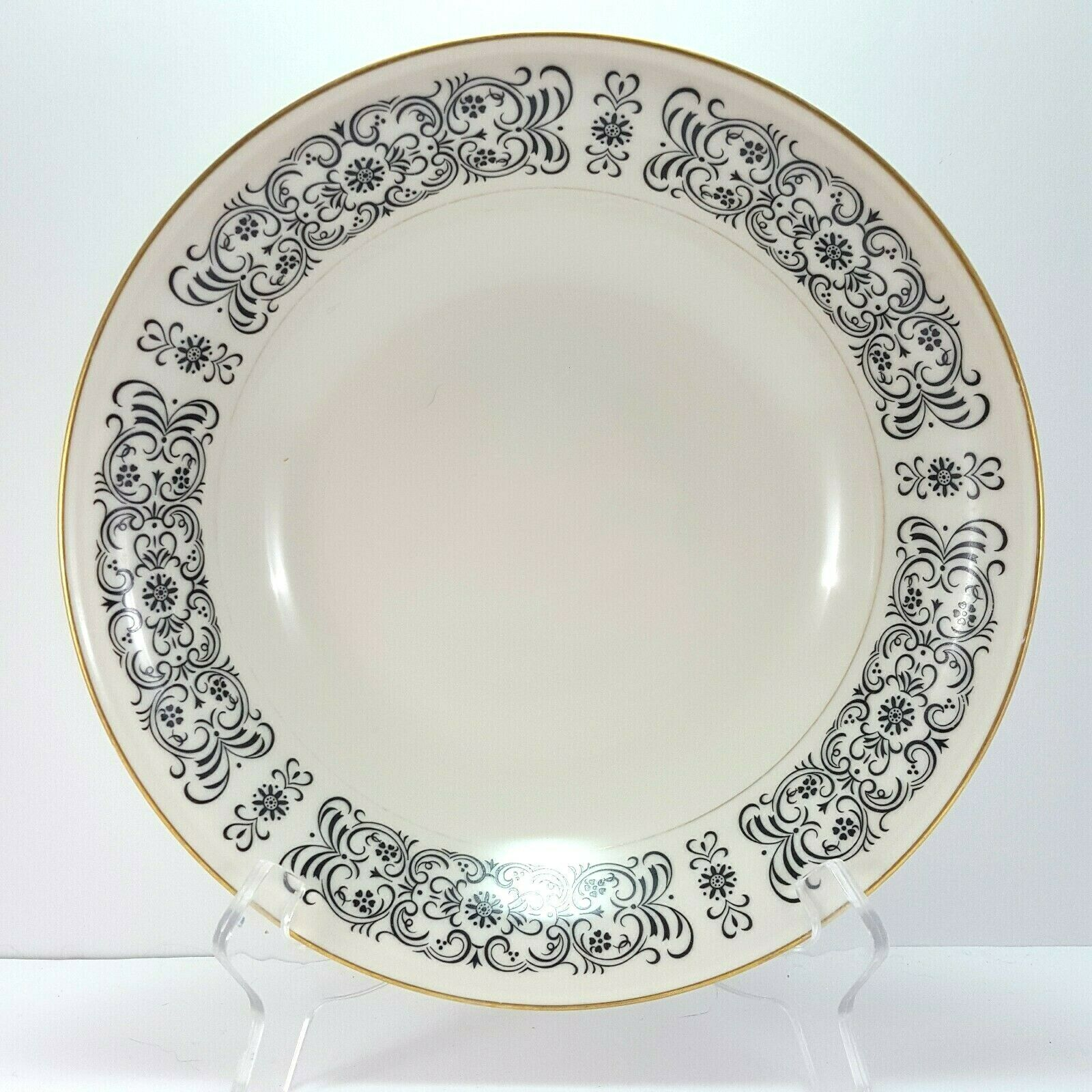 Primary image for Mikasa Riviera 205 Round Vegetable Serving Bowl Ivory Black Scrolls 9-5/8""
