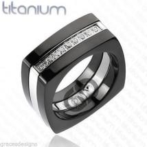 Men's Solid Titanium Wedding Engagement Bridal Band Black IP CZ Ring Siz... - $24.99