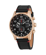 BRAND NEW CITIZEN CA0683-08E PRIMO BLACK LEATHER ROSE GOLD CHRONO MEN'S ... - £119.90 GBP