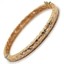 SOLID 18K ROSE WHITE GOLD BRACELET, RIGID, BANGLE, FINELY WORKED WITH FLOWER image 1