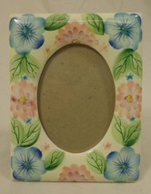 Designer Floral Picture Frame 5in x 6in x 1in 09-15g * Ceramic Glass - $8.78