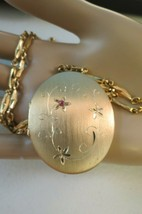 "Locket Pendant Photos Necklace 24"" Chain Brushed Gold Plated Red Rhinestone Vtg - $39.59"