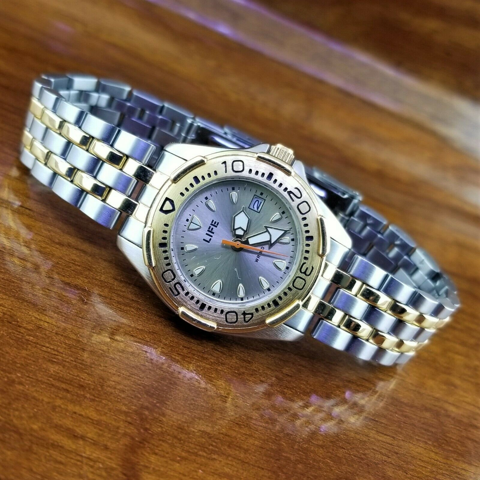 Primary image for Vintage Womens LIFE Gold & Silver Yacht Diver Style Watch with Date 100' WR 30MM