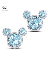 White Gold Plated Pure 925 Sterling Silver Aquamarine Womens Swirl Stud ... - £28.62 GBP