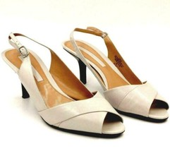 Bandolino Women Slingback Pump Heels Yepaf Size US 9.5M Gray Ivory Leather - $10.00
