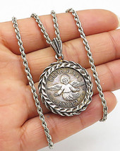 999 Sterling Silver - Vintage Guardian Angel Quoted Pendant & Necklace -... - $60.20