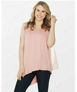 Lisa Rinna Collection V-Neck Top with Chiffon Back Detail Rose Tan X-Large - $22.27