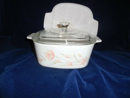 Corning Ware Peach Floral 1 1/2 qt Casserole/Sauce Pan  A-1 1/2-B w/2 Lids - $19.79