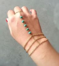 mooTurquoise Bohemian Hand Chain Gold Slave Bracelet Bohemian Slave Brac... - $52.00