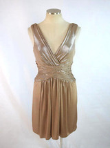 BCBG MAXAZRIA Brown Shimmer Low Cut Mini Empire Waist Shift Dress Womens... - $18.80