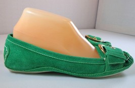 Nine West Driving Loafers Womens Green Leather Slip On Shoes Size 7 M - $39.55
