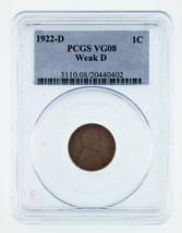 1922-D 1C Wheat Penny Weak D Graded by PCGS as VG-08! Gorgeous - $199.92