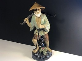 CHINESE FISHERMAN STATUE WUCAI FIGURINE SCULPTURE SIGNED SHIWAN VINTAGE ... - $148.50