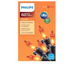 Philips Orange 60 Mini String Lights Orange Halloween Decorate Party Patio - $12.86