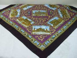 Vintage Berkshire Polyester Scarf 9 Sights Souvenir Landmarks of Italy B... - $19.79