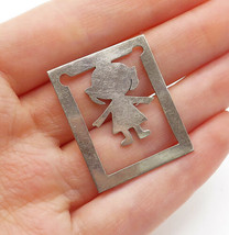 925 Sterling Silver - Vintage Cutout Little Girl Shiny Square Book Mark ... - $26.17