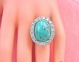 VINTAGE 1.30ctw DIAMOND BIG 21mm OVAL TURQUOISE WHITE 18K COCKTAIL RING ... - $2,054.05