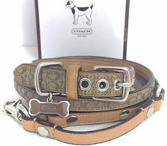 COACH Dog Collar & Leash Signature Jacquard Leather Bone Charm Tag sz Sm... - $247.45