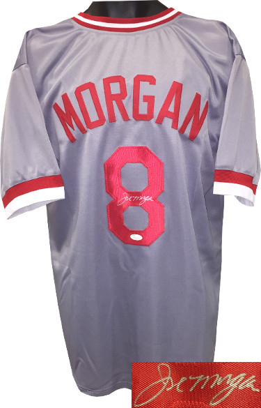 Joe Morgan signed Gray TB Custom Stitched Baseball Jersey XL- JSA Witnessed Holo