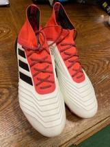 adidas predator 18.1 SG Primeknit SOFT GROUND White Black Red Size Mans 9  Only - $160.38