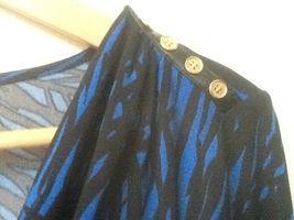 Calvin Klein Top Drape Neck 3/4 Sleeve Blue Black Print S Small image 4