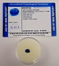 Naturale Zaffiro Blu Ovale 0.91 K Certificato Valutazione AGI BS13 - $259.38