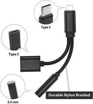 Nylon Braided 2 in 1 USB C Type C to 3.5mm Headphone Audio Aux Jack image 4
