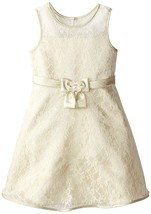 Bonnie Jean Little Girl 2T-6X Metallic Gold Ivory Floral Lace Fit Flare Dress