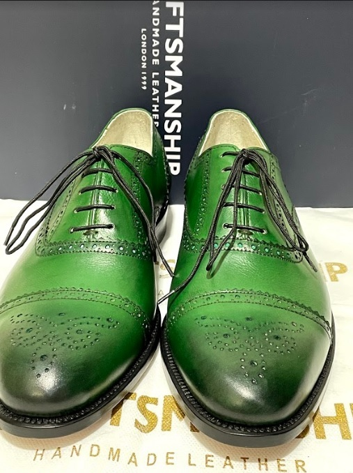 Handmade Men's Green Leather Brogues Style Lace Up Dress/Formal Oxford Shoes